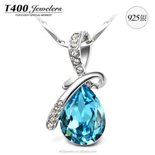 T400 fashion jewelry 925 sterling silver pendant necklace crystals from swarovski