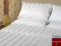 King white hotel bedding set 300tc satin stripe fabric