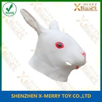 X-MERRY hot selling mask cosplay costume mask White grass eating Rabbit overhead Rubber Mask animal life mask