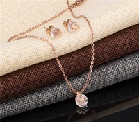 Stainless Steel Jewelry Set In Stock Item CZ Stone Jerwelry Earring and Pendant Set Rose Gold Filled