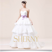 New model two levels royal light purple and white wedding dress with a bowknot belt