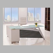 White color glass office furniture with side table