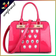 Latest new design women handbags,high quality top leather handbags,crystal stones decorative handbags