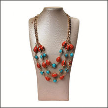 wholesale customized imitation jewelry 3 layers colored howlite bead necklace