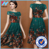 new Summer 2015 women dark green chiffon printed casual dress plus size short sleeve party dresses