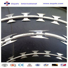 High Security curved metal fencing panel with top welded razor wire (manufacturer)