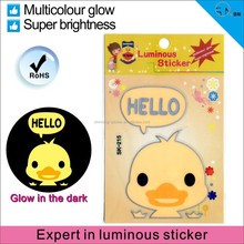 Cartoon character stickers/ luminous light switch sticker/animal sticker made in China