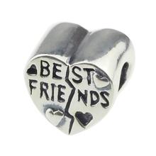 Fashion Jewelry Making Wholesale Heart Shape Best Friend BFF 925 Sterling Silver Charm for European Bracelet