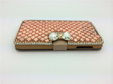 Handmade diamond pu leather cell phone case