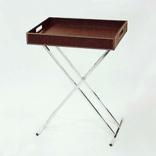Portable Brown PU Leather Folding Tray Table