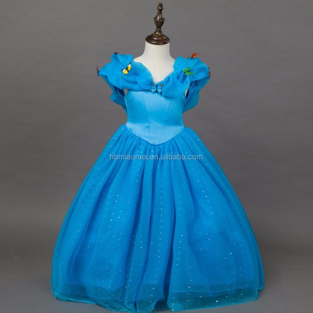 Cinderela traje cospay vestido na TV & Movie 2016 novo design cor azul princesa modelos de vestido