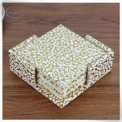 eco-friendly pu leather paperboard linen western coasters