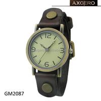 Unisex gender japan movement leather strap bronze retro watch