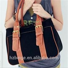 Dama de la moda lienzo bolso de mano, venta caliente baratos bolso hecho a mano en china
