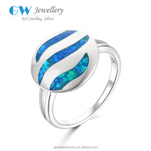 Delicate Round Style Design Blue Fire Opal 925 Silver Rings Fashion Jewelry