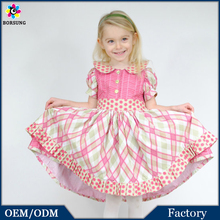 2015 The Latest Girls Pink Princess Cotton Frock Designs With Bowknot Fashion Girls Party Dress