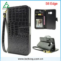 Women's fashion alligator purse leather case cover for Samsung Galaxy S6 edge, crocodile phone case for Samsung Galaxy S6 edge