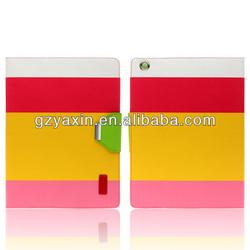 Striple Leather Case For Apple ipad mini 3 leather cover /smart pu wallet case for ipad mini 3 kickstand case