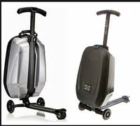 PC/EVA luggage 2-wheels luggage electric scooter with 3 wheels