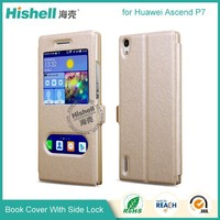 Hot selling Steel wire Line PU cellphone cases for Huawei P7