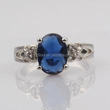 Wedding jewelry fashion accessory 2014 one stone design rhinestone oval beadblue sapphire dubai wedding rings