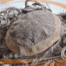 Full handtied grey human hair hair piece, grey hair under vent mens toupee