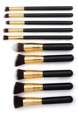 wholesale Customize many colours can choose makeup brushes/10 pcs pro make up kabuki brush set