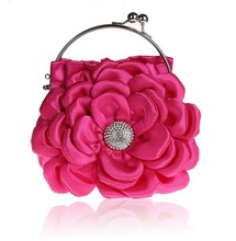 2015 Women's Fashion Purse Rose Flower satin mini Clutch Evening Bag cheap wholesale price