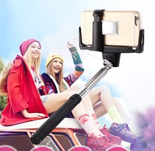 Best price wholesale selfie stick with cable D09 hold safety with 2 clips,no bluetooth wired monopod for Android and IOS