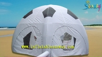 cheap outdoor camping fun small semi-circle inflatable white dome tent with tarpaulin