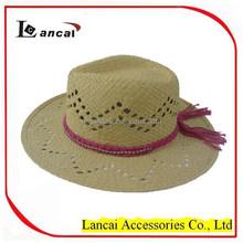 2015 new fashion wholesale hadweave straw fedora hat with pink yarn plait trim