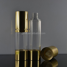 10ml cosmetic airless bottle with pump lid for skin care oil 10ml essential oil aluminum bottle with aluminum screw pump