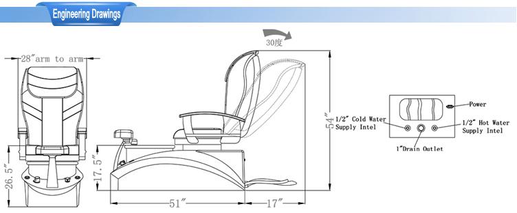 pedicure chair dimensions 3