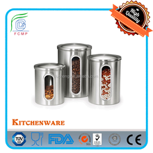 BSCI Factory--LFGB High quality bread box and canister set with s/s lid and body with window
