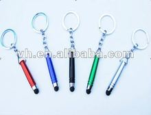 top quality mini plastic touch screen pen with metal key ring