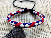 lots cheap unisex new personalized round braid colorful blue red and white 3 colors bracelets for men and women