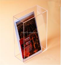 Open book display crystal standing acrylic magazine racks