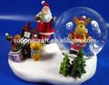 feliz 2014 resina de navidad santa claus jr de ciervo con globos de nieve