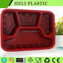 4 Compartments disposable plastic fast food tray /container