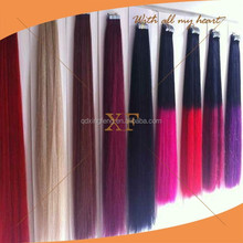 Wholesale price no sheding 5a grade best quality 8-36 inch colored synthetic hair extensions