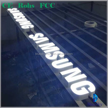 Customized metallic frame with resin front channel illuminated led sign for shop LOGO display