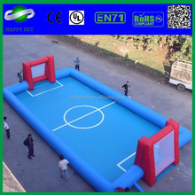 Crazy soccer ball game with inflatable soccer ball pitch