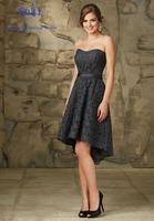 SA86 Cheap Short Hi-Lo Lace Navy Blue Bridesmaid Dresses