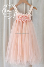 Peach Soft Tulle Chiffon Tutu Baby Girls Dresses with Cotton Lining for Wedding Flower Girl Dress Kids Birthday Party Dresses