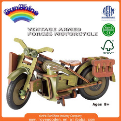 2015 New Hot Sell Wooden toy EN71 ASTAM stander Wooden toy car assembly Vintage Armed Forces Motorcycle ESHN0010