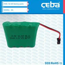 Ni-MH battery pack AA 4.8V,3.6V,2.4V 1200mAh for sale