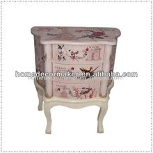 French Style Bow Leg Bedside Cabinet of 3 Drawers