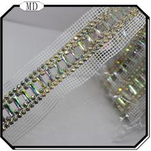 2015 Wholesale Crystal Rhinestone Mesh, Hot fix Mesh Sheet, Crystal Diamond Mesh Trimming
