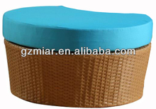 Round rattan wicker footstool 302208D