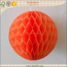 Halloween decoration orange round 3D handmade honeycomb balls